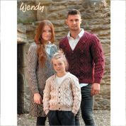 Wendy Family Cable Cardigans Knitting Pattern 5740  Aran