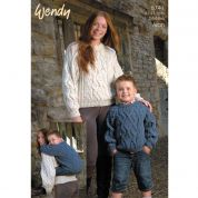 Wendy Family Cable Sweaters Knitting Pattern 5741  Aran