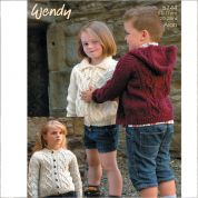 Wendy Childrens Cardigan & Hoodie Traditional Wool Knitting Pattern 5744  Aran