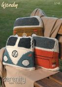 Wendy Home Campervan Cushion Serenity Knitting Pattern 5748  Super Chunky