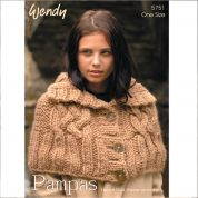 Wendy Ladies Cape Pampas Knitting Pattern 5751  Super Chunky