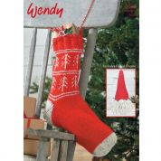 Wendy Christmas Stocking & Gnome Traditional Wool Knitting Pattern 5753  Aran