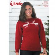 Wendy Ladies Reindeer Fairisle Sweater Merino Knitting Pattern 5754  Chunky