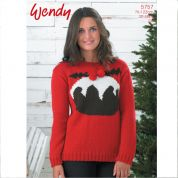 Wendy Ladies Christmas Pudding Sweater Mode Knitting Pattern 5757  DK