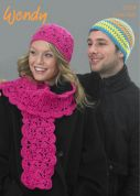 Wendy Mens & Ladies Hats & Scarf Mode Crochet Pattern 5759  Chunky