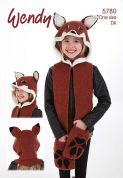 Wendy Childrens Novelty Fox Animal Hat Scarf Mode Knitting Pattern 5780  DK