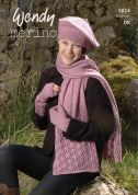 Wendy Ladies Hat, Scarf & Wrist Warmers Merino Knitting Pattern 5814  DK