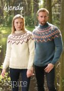Wendy Mens & Ladies Sweaters Aspire Knitting Pattern 5821  Chunky