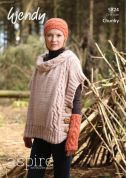 Wendy Ladies Poncho Aspire Knitting Pattern 5824  Chunky