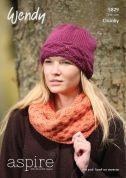 Wendy Ladies Hat & Cowl Scarf Aspire Knitting Pattern 5829  Chunky