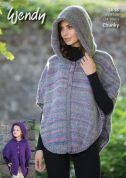 Wendy Ladies Hooded Poncho Festival Knitting Pattern 5838  Chunky