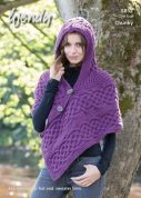 Wendy Ladies Hooded Poncho Merino, Serenity & Mode Knitting Pattern 5852  Chunky