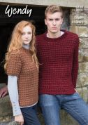 Wendy Mens & Ladies Sweaters Serenity Knitting Pattern 5858  Super Chunky