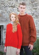 Wendy Mens & Ladies Sweaters Knitting Pattern 5866  Aran