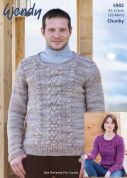 Wendy Ladies & Mens Sweaters Knitting Pattern 5902  Chunky