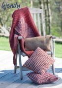 Wendy Home Cushions & Throw Cairn Knitting Pattern 5915  Aran