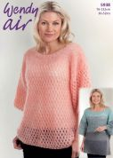 Wendy Ladies Tops Air Knitting Pattern 5938  2 Ply