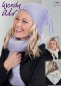Wendy Ladies Hat & Scarves Air Knitting Pattern 5939  2 Ply