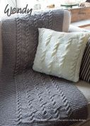 Wendy Home Throw & Cushion Knitting Pattern 5955  Aran