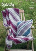 Wendy Home Cushion & Throw Mode, Merino & Serenity Crochet Pattern 5965  Chunky