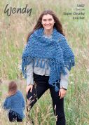 Wendy Ladies Wrap Serenity Crochet Pattern 5967  Super Chunky
