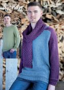 Wendy Mens Sweaters & Scarf Pixile Knitting Pattern 5986  DK