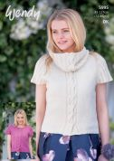 Wendy Ladies Cap Sleeve Sweater Top & Cowl Fleur Knitting Pattern 5995  DK