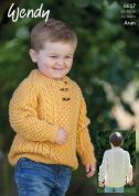 Wendy Boys Button Neck Sweater Knitting Pattern 6017  Aran