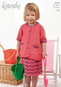 Wendy Girls Cardigan & Skirt Supreme Knitting Pattern 6029  DK
