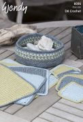 Wendy Home Table Mats, Coasters & Bowl Crochet Pattern 6036  DK