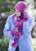 Wendy Ladies Scarf, Hat & Mittens Aurora Knitting Pattern 6048  DK