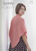 Wendy Ladies Shawl Purity Knitting Pattern 6053  Aran