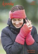 Wendy Ladies Headband, Wrist Warmers & Beanie Stella Knitting Pattern 6062  Chunky
