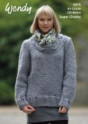 Wendy Ladies Scoop Neck Sweater Harris Knitting Pattern 6075  Super Chunky