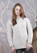 Wendy Ladies Sweater Purity Knitting Pattern 6090  Aran