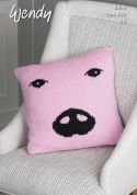 Wendy Pig Cushion With Wool Knitting Pattern 6094  DK