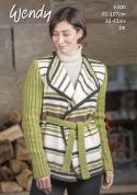 Wendy Ladies Wrap Over Jacket With Wool Knitting Pattern 6100  DK