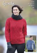 Wendy Ladies Sweaters With Wool Knitting Pattern 6101  DK