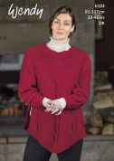 Wendy Ladies Sleeved Poncho With Wool Knitting Pattern 6103  DK
