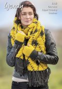Wendy Ladies Scarf & Fingerless Mitts With Wool Crochet Pattern 6106  Super Chunky