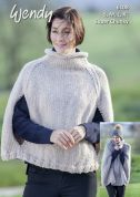 Wendy Ladies Poncho With Wool Knitting Pattern 6108  Super Chunky
