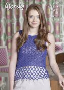 Wendy Ladies Beaded Top Supreme Cotton Crochet Pattern 6117  DK