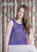 Wendy Ladies Lace Vest Top Supreme Cotton Knitting Pattern 6120  DK