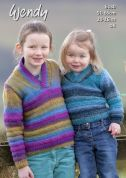 Wendy Kids Sweaters Aurora Knitting Pattern 6130  DK