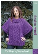 Twilleys of Stamford Ladies Cabled Sweater Freedom Knitting Pattern 9134  Super Chunky