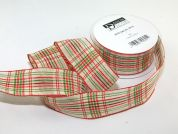 38mm Wired Check Christmas Ribbon  Red & Green