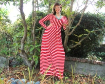 Red and White Stripe 80's Dress