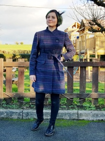 Asymmetrical Plaid Burda Style Coat