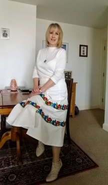 My Lady McElroy Twill Skirt with Embroidered Lace Trim