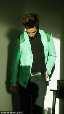 Newcastle Cardigan with Leather Detail
